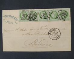 Enveloppe Avec 5 Timbres Cérès N° 53 , Bande De Timbres Oblitérés Le Havre 30/08/1873. B TB - 1871-1875 Cérès