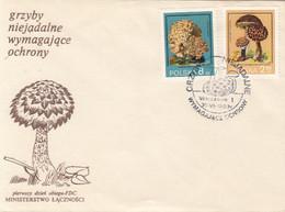 PLANTS, MUSHROOMS, COVER FDC, 3X, 1980, POLAND - Pilze