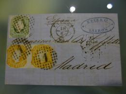 1863 - MIXTO DA EMISSÂO D.PEDRO V E D.LUIS I (BORJA FREIRE) , LISBOA COM DESTINO A MADRID (2º PORTE) - Briefe U. Dokumente