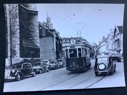 Photographie Originale De J.BAZIN Numérotée : Tramways De DIJON : Vers Église De St Jean  En  1955 - Treinen