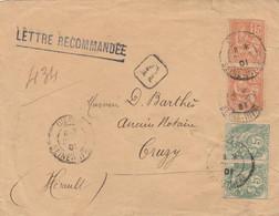 BLANC 5C PAIRE + MOUCHON 15C PAIRE SUR LETTRE REC DIEPPE 21/10/01 POUR CRUZY HERAULT - 1877-1920: Période Semi Moderne