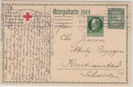 Bayern - 5 Pfg Hupp Sonderganzsache Rotes Kreuz N. SCHWEDEN Nürnberg 1914 N. - Bayern (Baviera)