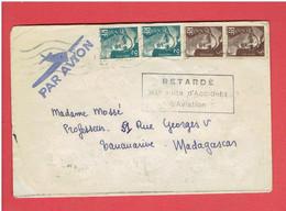 ENVELOPPE PAR AVION 1 FEVRIER 1946 RETARDE PAR SUITE D ACCIDENT D AVIATION MARSEILLE POUR TANARIVE MADAGASCAR - 1927-1959 Brieven & Documenten