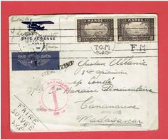 ENVELOPPE PAR AVION MAROC BASE AERIENNE DE RABAT 16 JUIN 1939 POUR MADAGASCAR VIA MARSEILLE FRANCHISE MILITAIRE - Covers & Documents