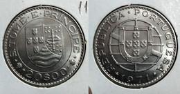 PORTUGUESE ST. THOMAS & PRINCE ISLANDS 20 ESCUDOS 1971 Km# 24 UNC/BU (G#8-119) - Sao Tome And Principe