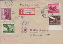 875ff Heldengedenktag 5+10+12+15 Pf Brie Not-R-Zettel SCHIRGISWALDE 3.11.44  - Unclassified