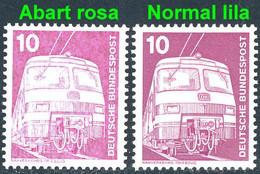 847 IuT 10 Pf: - Lok Im Nebel: Farbe Rosa Statt Lila, Mit Vergleichsstück **  - Engraving Errors