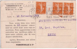 MILLESIME 1922 - SEMEUSE - CARTE COMMERCIALE De LYON => NANTES - 1921-1960: Modern Tijdperk