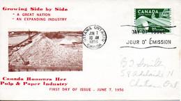 CANADA. N°289 Sur Enveloppe 1er Jour (FDC) De 1956. Industrie Du Papier. - Factories & Industries