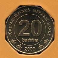 TÜRKMENISTAN 20 TENGE 2009 KM# 99  Carte Du Turkmenistan AXE DÉCALÉE  OFFSET AXIS - Turkmenistan