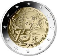 2 Euro Commemorative France  2021 75 Ans De L'UNICEF - France