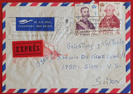 ESPANA SPAIN 1979 EXPRES UTRERA SEVILLA RE ALFONSO RE CARLOS AIR MAIL TO SION SWITZERLAND - 1971-80 Covers