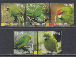 2020 New Zealand Parakeets Birds Oiseaux  Complete Set Of 5 MNH @ BELOW FACE VALUE - Unused Stamps