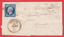N°14 PC 547 BROUAGE CHARENTE INFERIEURE MARITIME CAD TYPE 22 JARNAC CHARENTE INDICE 20 - 1849-1876: Klassieke Periode