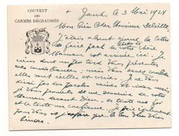 Carte De Visite Couvent Des Carmes Déchaussés En Mai 1924 - Format : 12x9cm Recto-verso - Visiting Cards