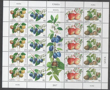 SERBIA, 2017, MNH, FRUITS, APPLES, PLUMS, SHEETLET WITH TAB - Obst & Früchte