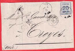 ALSACE LORRAINE N°6 DIEUZE MOSELLE 13.1.1871 POUR TROYES AUBE TAXE 25C DEVANT DE LETTRE - Alsace Lorraine