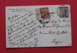 * - Carte De Milan Taxée à 30c Chiffre 9 De Bande Inter-panneau, Affranchissement Mixte Italie + France 1922 - 1859-1955 Briefe & Dokumente