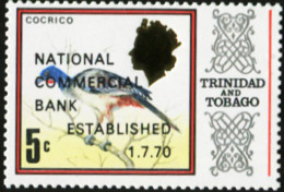 TRINIDAD AND TOBAGO 1970 Overprints National Commercial Bank Overprint Redtailed Chachalaca Bird Birds Animals Fauna MNH - Other
