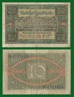 Germany P67, 10 Mark, Reichsbank Seal / Guilloches 1920 VG-F - 10 Mark