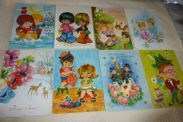 LOT DE 8 ILLUSTRATIONS ..ENFANTS..FETE.. - 5 - 99 Postcards
