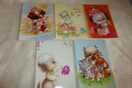 LOT DE 5 ILLUSTRATIONS ....ANIMAUX...CHIENS CHATS..SOURIS ..OISEAUX - 5 - 99 Postcards