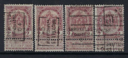 RIJKSWAPEN Nr. 55   Voorafgestempeld Nr. 612 A + B + C + D   BRUXELLES  CHANCELLERIE 04 ; Staat Zie Scan ! - Roller Precancels 1900-09
