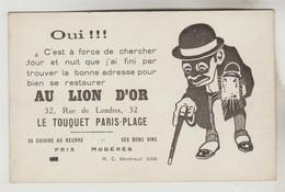 CARTON FORMAT CPA PUBLICITE RESTAURANT - AU LION D'OR 32 RUE DE LONDRES LE TOUQUET PARIS PLAGE (Pas De Calais) - Publicidad