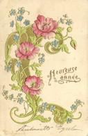 Carte Gaufrée Style Art Nouveau Fleurs D' Eglantier Myosotis Heureuse Année Pionnière RV - Andere