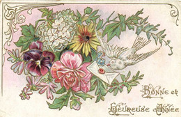 Carte Gaufrée Fleurs Diverses Colombe Message Bonne Et Heureuse Année  RV - Other