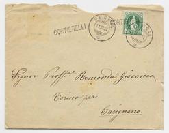 HELVETIA SUISSE 25C VERT LETTRE COVER MAL OUVERTE PECCIA 11.VII.1894 + GEIFFE CORTIGNELLI TO ITALIA - Covers & Documents