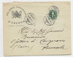 HELVETIA SUISSE 25C VERT LETTRE COVER  ENTETE COLLEGIO PONTIFICIO D'ASCONA LOCARNO 1894 TO ITALIA PIEMONTE - Covers & Documents
