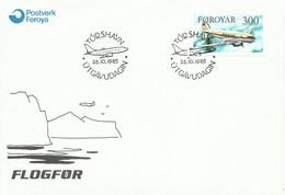 FEROES,  SOBRE CONMEMORATIVO  AEREO  ,  AÑO  1985 - Faroe Islands