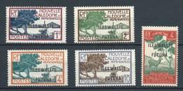 WALLIS ET FUTUNA 1930 NUEVOS SIN GOMA MI-43+44+45+47+P12 YT-43+44+45+47+T12 MANGROVE BAY'S POINT+TAXES - Unused Stamps
