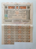 """GRECE GREECE  SHARE """"TEKTON Ste ANONYME DE CONSTRUCTIONS """".ATHENS 1920 WITH 37 COUPONS  . VERY GOOD CON. - Ohne Zuordnung"""