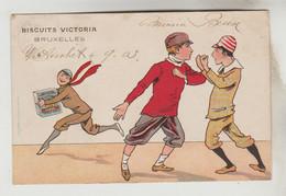 CPA PIONNIERE PUBLICITE PRODUIT ALIMENTAIRE - GRANDE BISCUITERIE VICTORIA  KOEKELBERG BRUXELLES (Belgique) / Bagarre - Publicidad