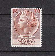 Italia   -  1955. Siracusana  100 £  Filigrana Stelle. MNH, Fresh - 1946-60: Mint/hinged