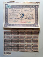"""GRECE GREECE  SHARE """"SOCIETE ANONYME DES TANNERIES PAPPADAM """".SYRA 1927 WITH 45 COUPONS . VERY GOOD CON. - Zonder Classificatie"""