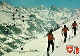 CPM - ANNIVIERS - Vue Du Site ... (skieurs) - VS Valais