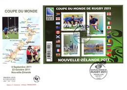 FDC GF JF - Bloc Coupe Du Monde De Rugby, Oblit 8/7/2011 Paris - 2010-....