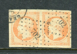 Superbe Paire De N° 16 Orange Sur Crème - 1853-1860 Napoleone III