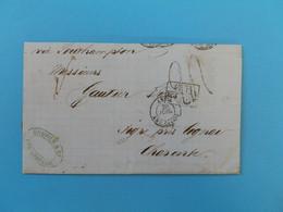 MARQUE POSTALE DE PUERTO CABELLO A AIGRE DU 29 JUILLET 1872 (MARQUE D'ECHANGE 1F 60c) - 1849-1876: Période Classique