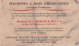 CPA PUBLICITAIRE MACHINES A BOIS AMERICAINES Représentée à PARIS Par R.S. STOKVIS & FILS ++2 SCANS - Publicidad