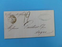 MARQUE POSTALE DE MARTINIQUE A AIGRE DU 22 JUILLET 1872 (LIGNE B PAQ FR N° 1 AU VERSO) - 1849-1876: Période Classique