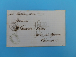 MARQUE POSTALE DE BAHIA A AIGRE DU 28 AOUT 1872 (MARQUE D'ECHANGE 1F 60c) - 1801-1848: Vorläufer XIX