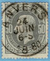 Belgien 32 A/c? König Leopold II. 50 C. Dunkelgrau = Belgique / Belgie OCB / Yvert 35o. = Belgium Scott #38 F/u - 1869-1883 Leopold II.