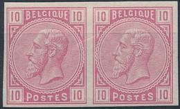 [* SUP] N° 38, 10c Rose En Paire Non Dentelée - 1869-1883 Leopold II