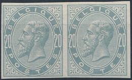[* SUP] N° 39, 20c Gris-perle En Paire Non Dentelée - 1869-1883 Leopold II