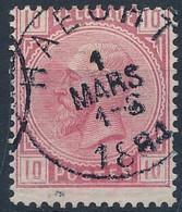 [O SUP] N° 38, TB Obl Centrale 'Haecht', Coba +15 € - 1869-1883 Leopold II