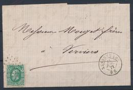 [Lettre TB] N° 30 Sur LAC De Nessonvaux 'LP268' Du 25 Juin 1871 Vers Verviers - 1869-1883 Leopold II